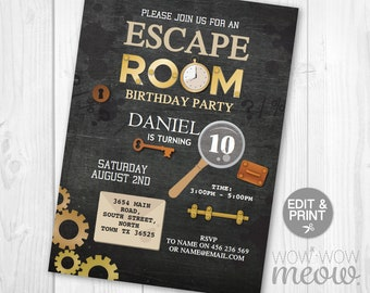 Puzzle invitation etsy escape room invitation birthday invite puzzle challenge instant download personalize key chalk solve clues locks editable printable template maxwellsz