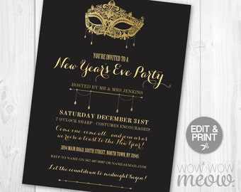 new years eve masquerade invitations masks party black and gold chalk invites printable instant download nye celebration night editable