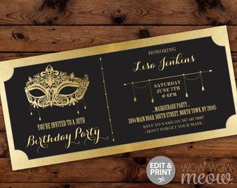 MASQUERADE Birthday Party Ticket Invitation Gold Mask Invite Elegant Black INSTANT DOWNLOAD Foil Tickets Any Age Editable Printable