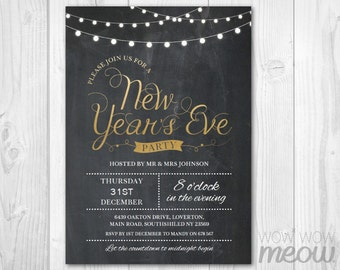 gold new years eve party invitation nye invite chalk board string lights instant download editable printable happy new year celebration