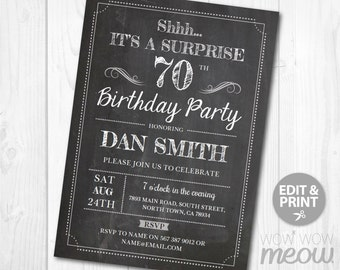 Surprise 70th Birthday Invitations SEVENTY Invite Chalk Party INSTANT DOWNLOAD Adult 70 Mens Womens Male Digital Printable Personalize
