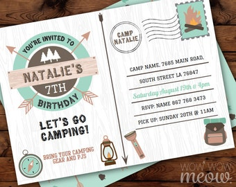 Glamping Camping Scavenger Hunt Cards Birthday Party Activity Etsy