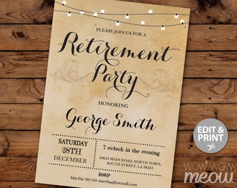 retirement invitation retired invite instant download printable rustic paper lights work celebration design editable personalize print