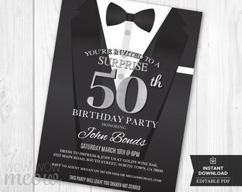 50th Birthday Invite Silver Invitation FIFTY Black Tie Elegant Agent Party INSTANT DOWNLOAD Editable Bond Tuxedo Personalize Printable