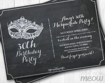 MASQUERADE Party Silver Mask Invitation Elegant Birthday Invite Chalk 20th 30th 40th 50th 60th Any Age INSTANT DOWNLOAD Editable Printable