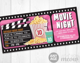 pink girls movie night ticket invitations film birthday party invites instant download film any age theatre personalize editable printable
