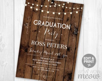 graduation party invitations etsy