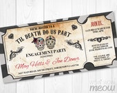 Sugar Skull Engagement Invitation Party Halloween Couples Shower Invite Ticket Skull INSTANT DOWNLOAD Wedding Chalk Personalize Printable