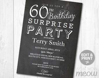 60th birthday invitations for men etsy surprise 60th birthday invitations party invite chalk board sixty instant turning 60 age download editable printable personalize male filmwisefo