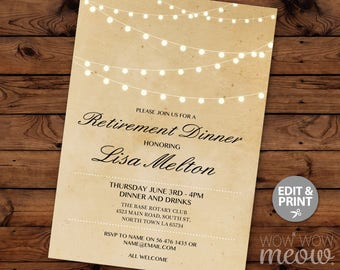 retirement invite string lights retiring party dinner lunch invitation instant download printable rustic womens vintage digital editable