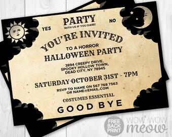 Ouija Halloween Party Invitations Printable Mystical INSTANT DOWNLOAD Birthday Invite Costume Tarot Board Future Personalized Editable