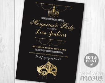 MASQUERADE Party Mask Invitation Black Gold Elegant Birthday Invite INSTANT DOWNLOAD Charity Ball Fancy Sweet 16 21st Editable Printable