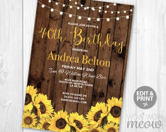 sunflower invite etsy