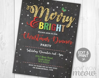 christmas party invitations invites merry bright festive holly instant download holidays season printable snowflakes dinner chalk editable
