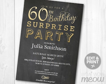 Elegant Gold SURPRISE 60th Birthday Invitations Party Invite Chalk Board Sixty Mens Womens Instant Download Editable Printable Personalize