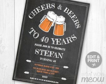 Cheers And Beers To 40 Years Invitation Chalk 40th Birthday Invite Party INSTANT DOWNLOAD Mens FORTY Ale Personalize Editable Printable