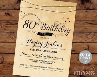 80th Birthday Invitation Elegant Eighty Invitations Party Womens Mens Instant Download Editable Printable Vintage Personalize Lights Print