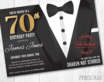 James Bond Invitations Etsy