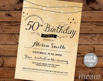 50th Birthday Invitation Elegant Fifty Invitations Party Womens Mens Instant Download Editable Printable Vintage Personalize Lights Print