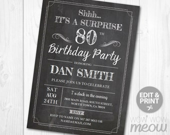 Surprise 80th Birthday Invitations EIGHTY Invite Chalk Party INSTANT DOWNLOAD Adult 80 Mens Womens Male Digital Printable Personalize