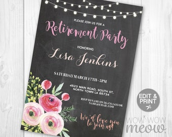 Women's Retirement Invitation Floral Chalk Wood Retired Invite INSTANT DOWNLOAD Ladies Flowers Printable Pink Digital Editable Personalize
