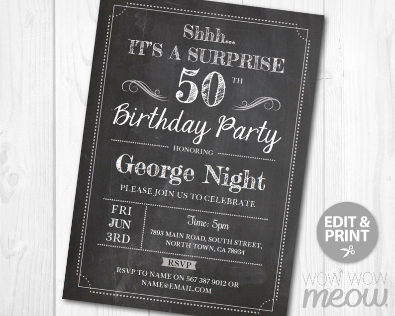 Surprise 50th Birthday Invitations FIFTY Invite Chalk Board Party INSTANT DOWNLO