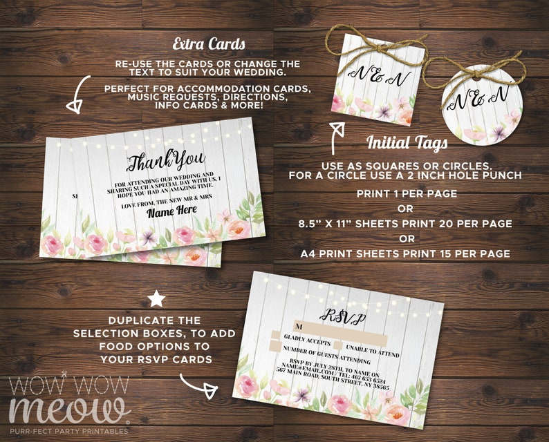 Wedding Invitations Set Template Wood Package Printable Invites Save The Date INSTANT DOWNLOAD Tags Pink Floral Personalize Editable WCWP079