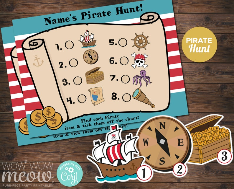 Pirate Scavenger Hunt Activity Sheet
