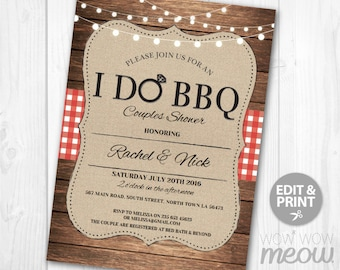 I Do BBQ Invitation Couples Shower Printable Invite Engagement Party INSTANT Download Lights Check Personalize Editable Printable Edit
