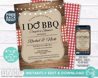 I Do BBQ Invitation Couples Shower Printable Engagement Invite Party INSTANT Download Lights Check Personalize Editable Printable WCWI001
