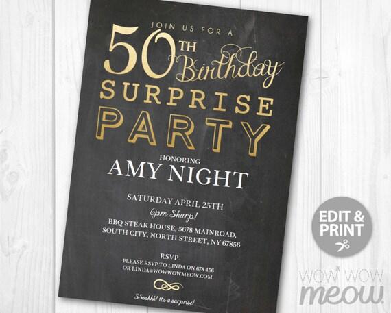 SURPRISE 50th Birthday Invitations Elegant Gold Party Invite