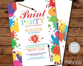 Paint Party Invitations Art Birthday Invite Brush Any Age INSTANT DOWNLOAD Painting Neon Girls Boys Customize Personalize Editable Printable