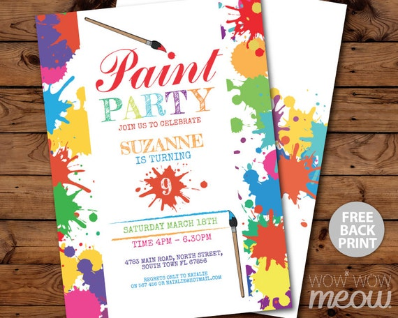 paint party invitations art birthday invite brush any age etsy