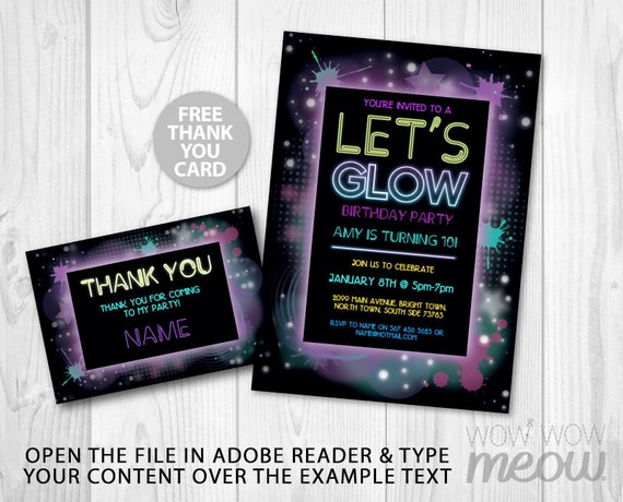 photograph regarding Free Printable Glow Party Invitations named Will allow Shine Get together Invites Females Boys Any Age Invite Quick Obtain Darkish NEON Electronic Paint Personalize Customise Editable Printable