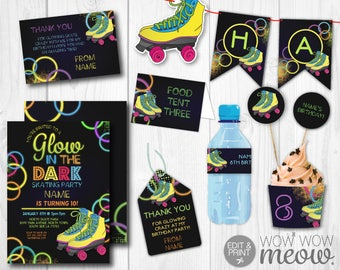 Glow in the Dark Skating Party Package Invitations Birthday Decorations Full Printable Collection INSTANT DOWNLOAD Neon Editable Personalize