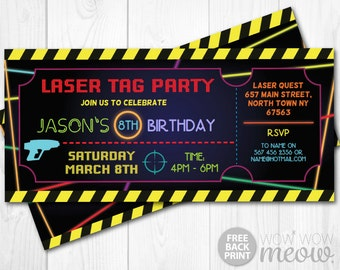 Laser Tag Invitations Ticket Birthday Party Let's Glow Dark INSTANT DOWNLOAD Lazer Quest Invite Neon Girls Boys Digital Editable Printable