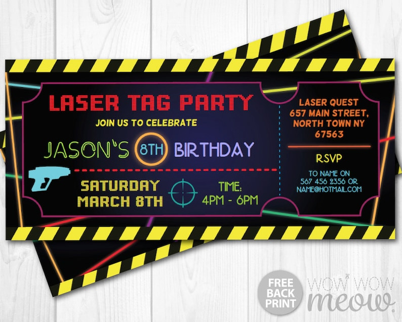 Laser Tag Invitations Ticket Birthday Party Lets Glow