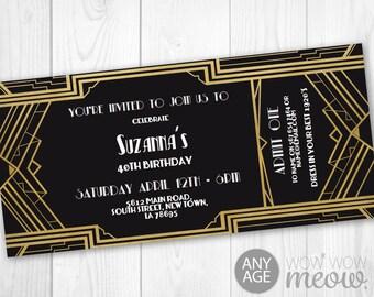 Art Deco Tickets Birthday Roaring Invitation Invite 1920s Party INSTANT DOWNLOAD Twenties Gatsby Gold Personalize Editable Edit Printable