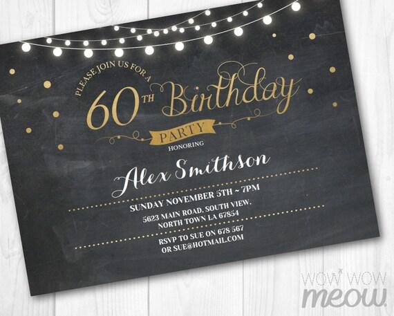 60th Birthday Invitation Elegant Party Sixty Invitation Chalk Womens Instant Download Editable Printable Personalize Lights Digital Print