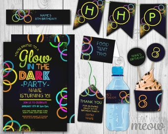 Glow in the Dark Package Invitations Birthday Party Invitations Decorations Full Printable Collection INSTANT DOWNLOAD Editable Personalize