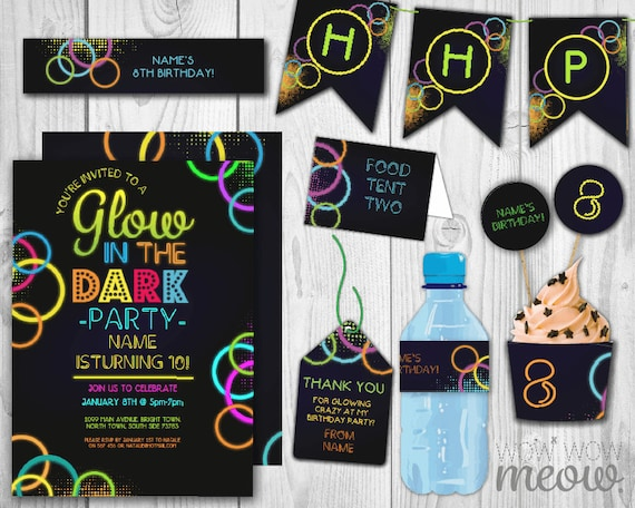 sc 1 st  Etsy & Glow in the Dark Package Invitations Birthday Party | Etsy