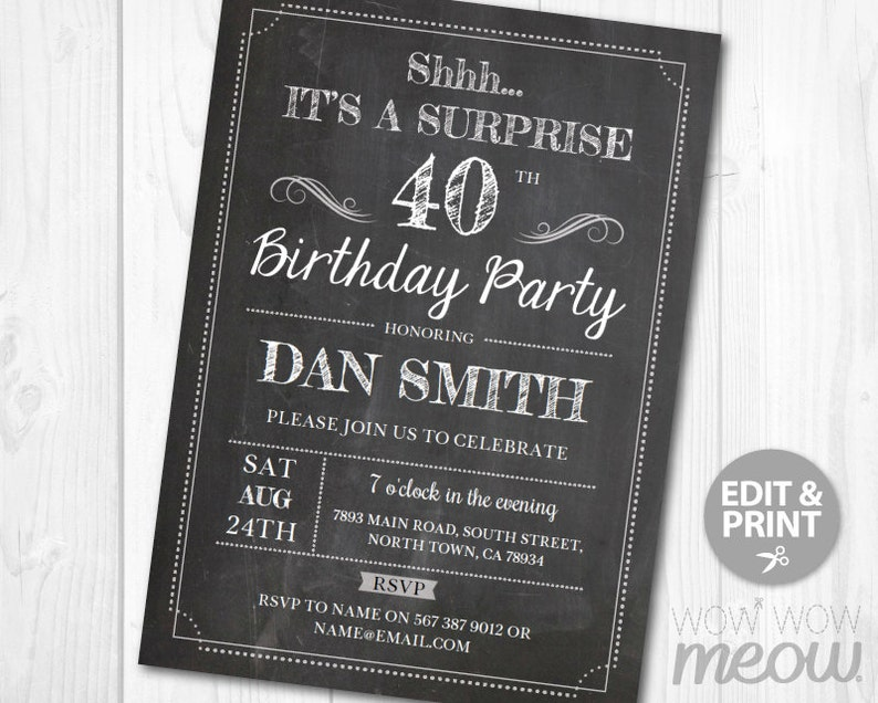 Surprise 40th Birthday Invitations FORTY Invite Chalk Board