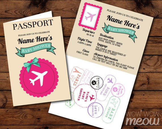 Passport Baby Shower Invitation Download Pink Airline Ticket Etsy