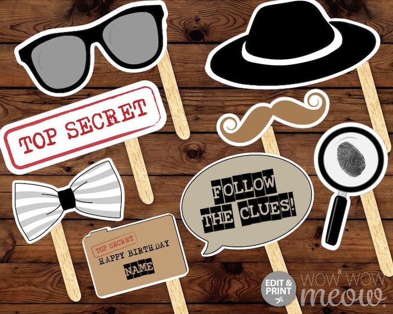 1403d7fa02 Secret Agent Spy Photo Props INSTANT DOWNLOAD Decoration