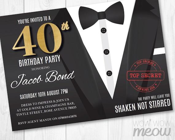 40th Birthday Invite FORTY Secret Agent Spy Party Invitation INSTANT  DOWNLOAD 40 Editable Bond Tuxedo Black Tie Suit Personalize Printable