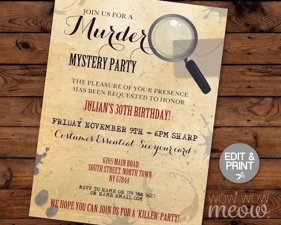 Murder Mystery Dinner Invitation Party Birthday Invite Spy Secret INSTANT DOWNLOAD Editable Elegant Personalize EDIT