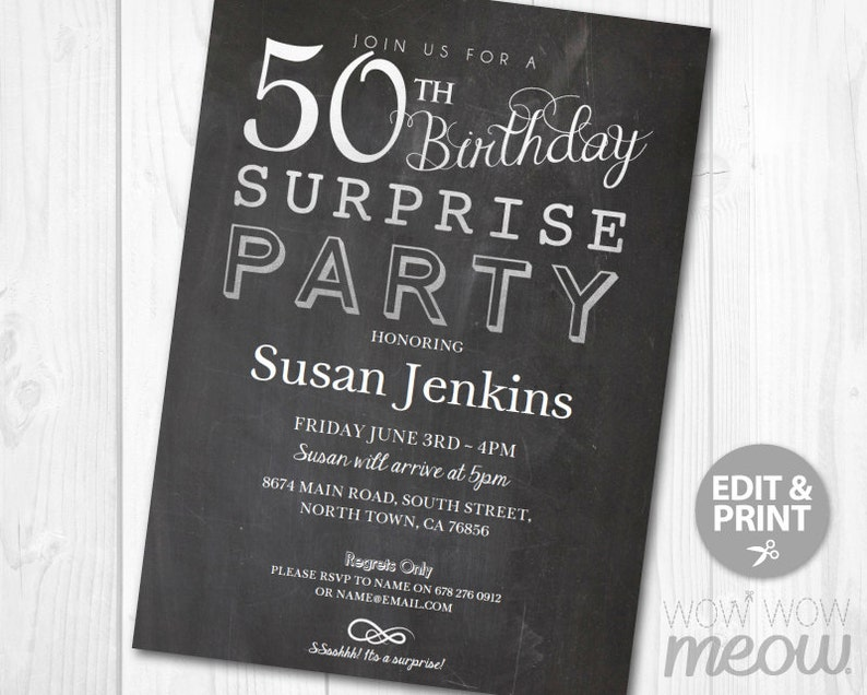 SURPRISE 50th Birthday Invitations Elegant Silver Party Invite