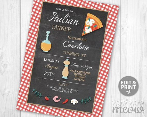 Who Accepts American Express >> Italian Birthday Invitation INSTANT DOWNLOAD Surprise ...