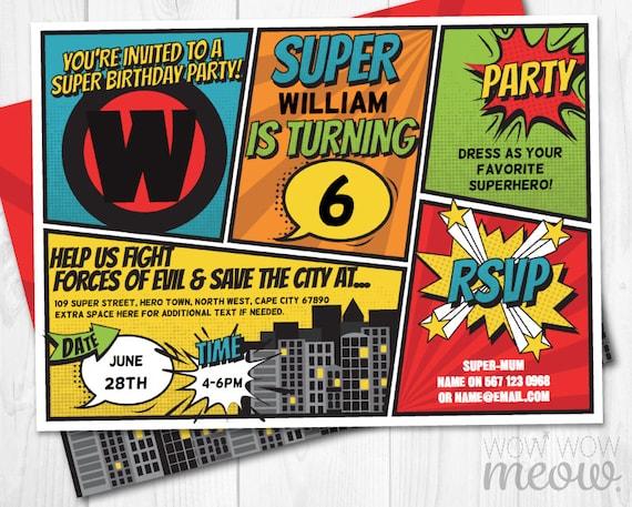 Super Hero Invitations Instant Download Superhero Invites Etsy