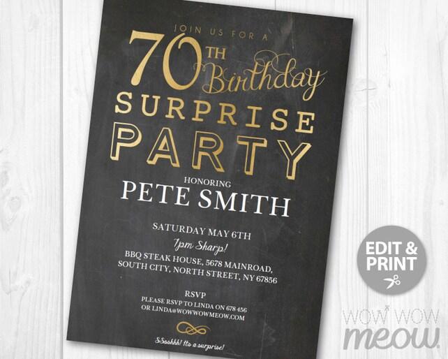 SURPRISE 70th Birthday Invitations Elegant Gold Party Invite Chalk SEVENTY Mens Womens 70 Download Editable Printable Personalize
